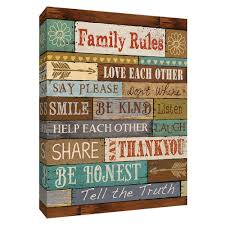 Ptm Images 12 In X 10 In Family Rules Canvas Wall Art 9 155096 The Home Depot