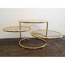 mid century 3 tiered brass and glass