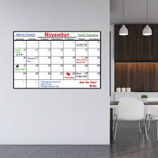 Vwaq Dry Erase Calendar Wall Decal With Markers Peel And Stick White
