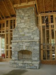 dry stack stone fireplace arch