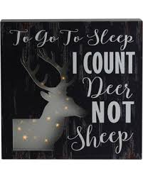 Amazing Deal On Northlight 8 In X 8 In Led Lighted Fiber Optic Deer In To Go To Sleep I Count Deer Not Sheep In Wall Art Decoration Brown