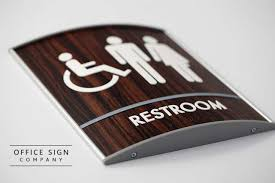Curved Wood Bathroom ADA Signs   Curved Modular Sign Systems Madera