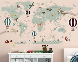 Airplane World Map Decal Clear Vinyl Decal Boys Room Decals World Map Mural Hot Air Balloon World M Baby Room Decals Girls Room Decals Boys Room Decals