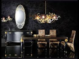 Black Gold Decorating Ideas Luxury Dining Room Black Gold Color Dark Buffet With Mirror Decor Wall Decal Set For Dining Rooms Upholstered Dining Room Chairs Luxurious Pendant Light With Gold Color Delaram Art Design