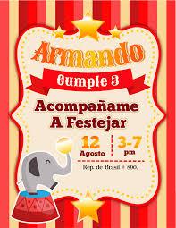 Invitacion Para Fiesta Infantil Con Tematica De Circo