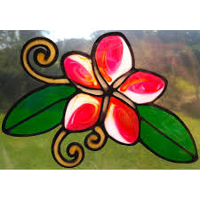 Frangipani Plumeria Flower Suncatcher Window Sticker Decal Stained Glass Style Sunshiner Leadlight Copy Stained Glass Patterns Window Stickers Stained Glass