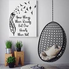 Your Wings Were Ready Quote Wall Decal Feather And Birds Wall Quote Sticker Removable Diy Wall Decor 853q Leather Bag