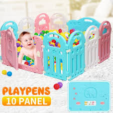 Infants Baby Playpen Kids Activity Centre Safety Play Yard Baby Fence With Lock Door Home Indoor Outdoor Plastic Play Pen With 10 Panels Walmart Com Walmart Com