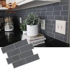 Grey Brick Subway Tile Peel And Stick Self Adhesive Wall Decal Sticker Diy Kitchen Bathroom Home Decor Vinyl 3d Wall Stickers Aliexpress