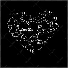 رسالة أحبك في تصميم قلب خلفية سوداء مخطط الحب تصميم Png
