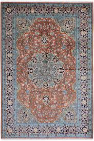 blue silk rug handloom kashmir silk