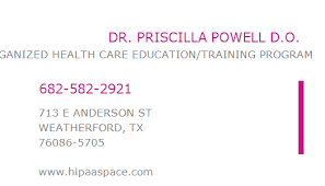 1265966188 NPI Number | PRISCILLA POWELL D.O. | WEATHERFORD, TX | NPI  Registry | Medical Coding Library | www.HIPAASpace.com © 2020