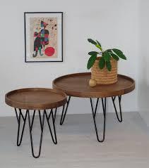 modern round coffee table set tray 60