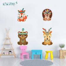 Tribal Deer Bear Hedgehog Fawn Fox Wall Stickers Children Diy Woodland Decals For Kids Nursery Room Decoration Vinyl Home Mural Buy At The Price Of 3 64 In Aliexpress Com Imall Com