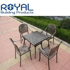 cast aluminum dining set table chairs