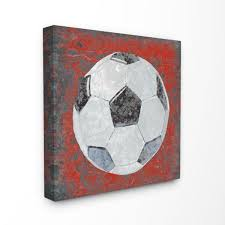 The Kids Room By Stupell 17 In X 17 In Grunge Sports Equipment Soccer By Studio W Printed Canvas Wall Art Brp 2239 Cn 17x17 The Home Depot