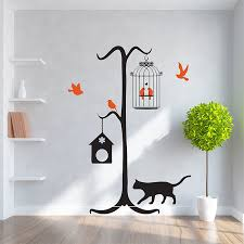 Cat With Birds Vinyl Wall Art Decal