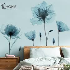Abstract Flowers Wall Sticker Vintage Blue Flower Wallpaper Removable Wall Decal For Living Room Bedroom Decoration Wall Stickers Aliexpress