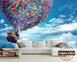 Custom 3d Kids Cartoon Wallpaper Mural Flying House With Balloon Up Blue Sky Tv Sofa Children Bedroom Living Room Background House Bedding House Wearhouse Back Aliexpress