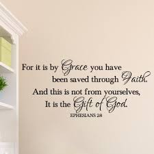 Ephesians 2 8 Vinyl Wall Decal 4 Saved By Grace Through Faith Scripture Religious Wall Vinyl Bible Verse Wall Home Decor Decal Eph2v8 0004