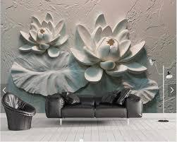 Custom 3d Embossed Wallpaper Lotus Cement Wall Background Mural For Living Room Bedroom Tv Background Wallpaper Embossed Wallpaper Custom 3d3d Embossed Wallpaper Aliexpress