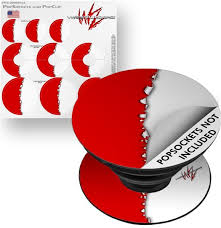 Decal Style Vinyl Skin Wrap 3 Pack For Popsockets Ripped Colors Red White