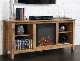 wood console media tv stand with