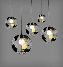 gold metal round globe pendant lights