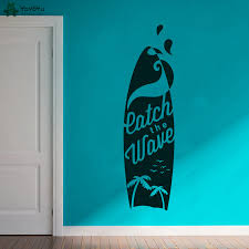 Surfing Palm Surf Wall Decal Surfer Boy Sticker Surfing Sports Decor For Boys Bedroom Enjoy The Sea Surfboard Wall Decals Qq402 Wall Stickers Aliexpress