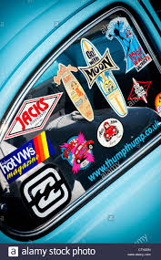 Surfing Life Style Window Stickers On An Old Vw Beetle Car Uk Stock Photo Alamy