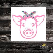 Pig With Bandana Decal Pig Decals For Car Decals For Women Etsy