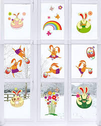 Easter Spring Decorations Party Supplies Removable Pvc Easter Bunny Easter Eggs Window Decals Tifeson 66 Pcs
