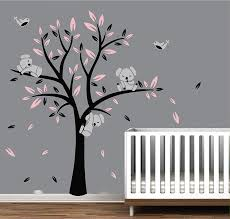 Amazon Com Aiyang Nursery Wall Decals Tree Wall Stickers Cute Birds Koalas Wall Art For Baby Bedroom Bedside Decoration Black Pink Kitchen Dining