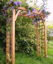 wooden arches creating romantic garden