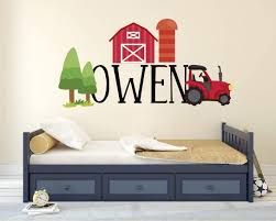 Amazon Com Barn Tree And Tractor Custom Name Series Nursery Baby Boy Wall Decal Vinyl Sticker For Kids Home Decor Kitchen Dining