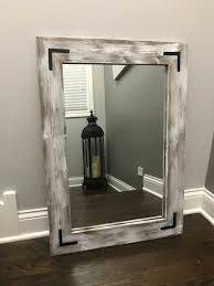 whitewash mirror bathroom wood frame