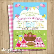 Picnic Birthday Invitation Picninc Invitation Picninc Etsy