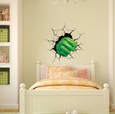 Green Fist Smash Wall Decal Superhero Wall Design Kids Smash Wall Cling Boys Room Decor Stickers Primedecals