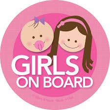 Baby On Board Car Decal With Brunette Girls Spark Spark