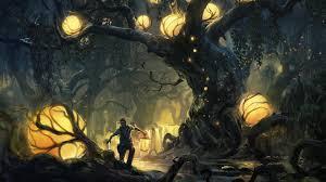 1920x1080 trees fantasy art artwork