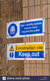 Health And Safety Warning Sign On Building Site Fence Site Safety Sign Stock Photo Alamy