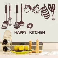 New Removable Happy Kitchen Cooking Art Home Stickers Utensil Spatula Vinyl Removable Wall De Kitchen Wall Decor Kitchen Wall Stickers Nursery Room Wall Decals