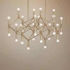 wide polished brass 30 light chandelier