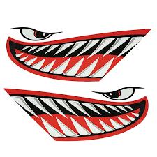 Canoeing Kayaking 2x Shark Teeth Mouth Decals Sticker Kayak Car Truck Graphics Diy Accessories Superando Com Co
