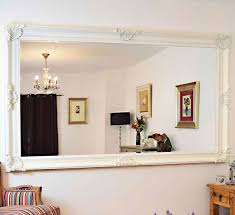 white rectangle wood wall mirror