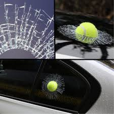 3d Crazy Tennis Ball Hit Windshield Body Creative Funny Car Sticker Broken Smash Window Decal Crack Fit For Universal Car Style Car Stickers Aliexpress