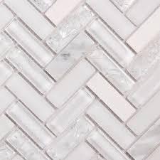 white oak herringbone mosaic glass tile
