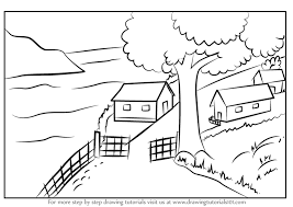 to draw a beautiful village scenery