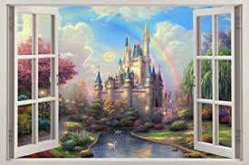 Amazon Com Fantasy Princess Castle 3d Window View Decal Wall Sticker Decorative Art Mural Baby