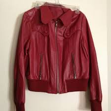 guess red leather biking jacket